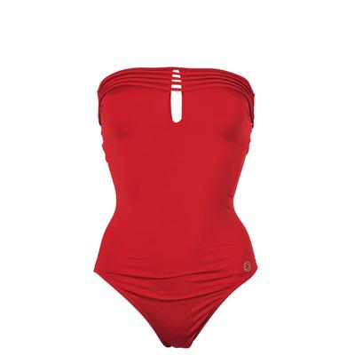 Maillot de bain une pièce bustier rouge carmin Indira