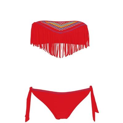 Maillot de bain deux-pièces bandeau rouge
