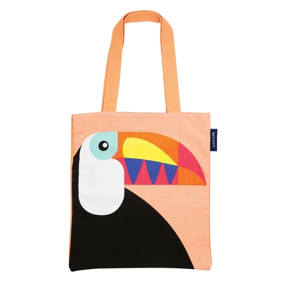 Tote bag de plage orange pêche Toucan