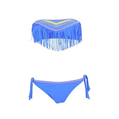 Maillot de bain deux-pièces bandeau à franges bleu