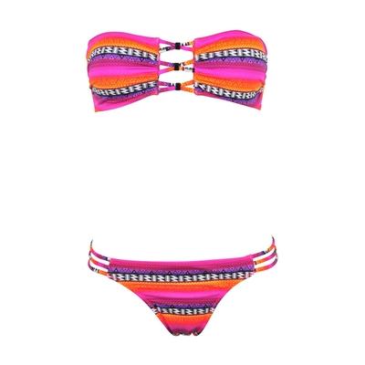 Maillot de bain 2 pièces bandeau rose Surf