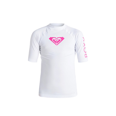 T-shirt lycra de surf fille blanc Whole Hearted