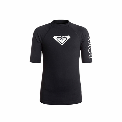 T-shirt lycra de surf fille noir Whole Hearted