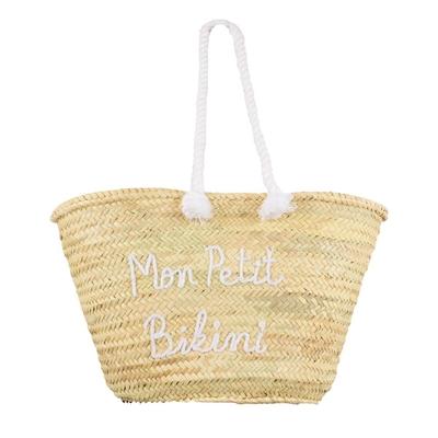 Panier de plage en osier Mon Petit Bikini Blanc