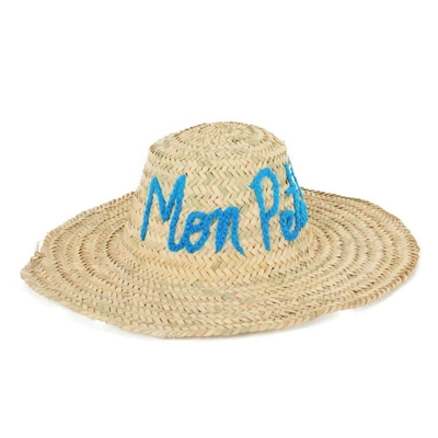 Chapeau de paille motif manuscrit MPB bleu