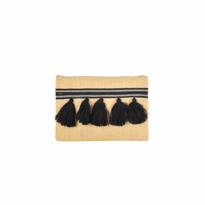 Pochette tissée pompons noirs Monpetitbikini