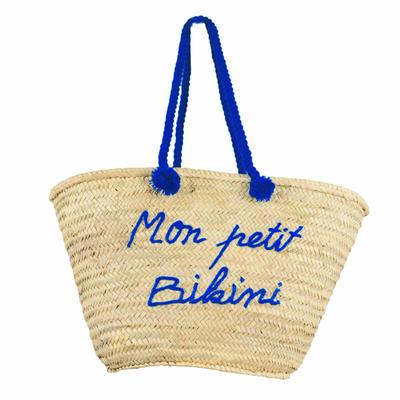 Panier de plage en osier Mon Petit Bikini Bleu Roi