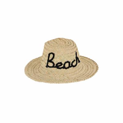 Chapeau de paille motif manuscrit Beach noir