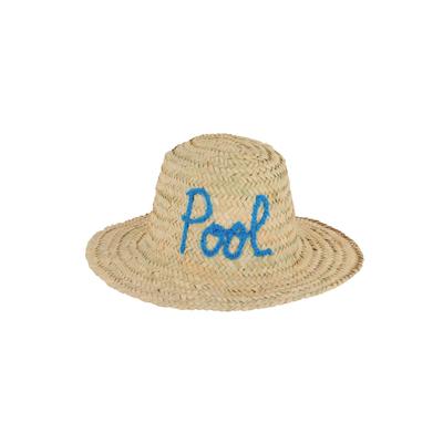 Chapeau de paille motif manuscrit Pool bleu