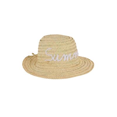 Chapeau de paille motif manuscrit Summer blanc