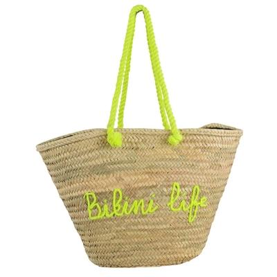 Panier de plage en osier jaune Bikini Life