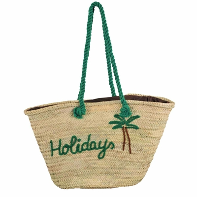 Panier de plage en osier vert Holidays