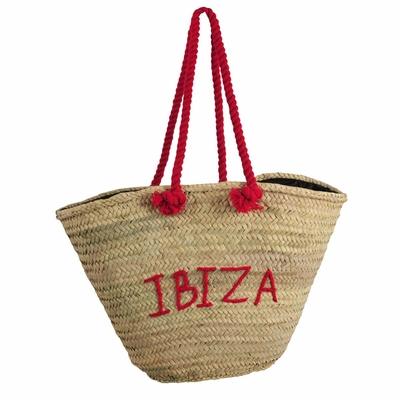 Panier de plage en osier rouge Ibiza