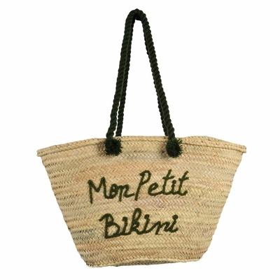 Panier de plage en osier Mon Petit Bikini vert kaki