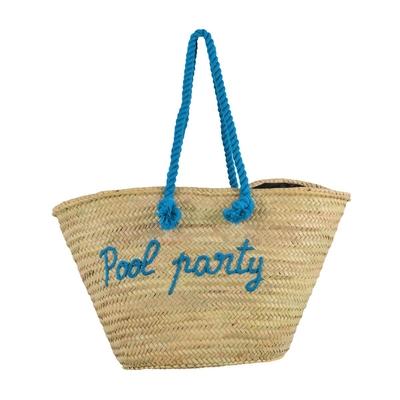 Panier de plage en osier bleu turquoise Pool Party