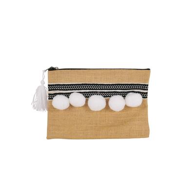 Pochette en toile de jute avec pompons blancs
