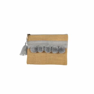 Pochette en toile de jute avec pompons gris