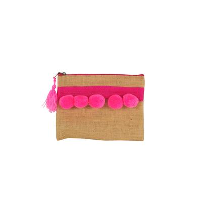 Pochette en toile de jute avec pompons roses