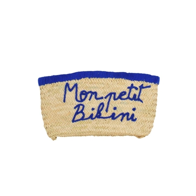 Pochette en osier Monpetibikini bleu roi