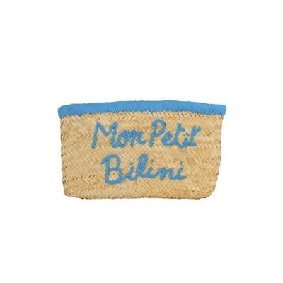 Pochette en osier Monpetitbikini bleue