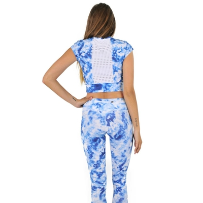 Crop Top de sport bleu Caribbean Ink