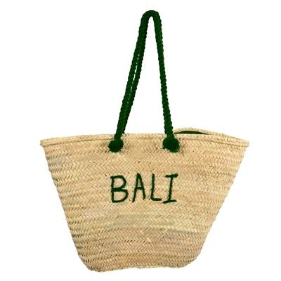 Panier de plage en osier vert kaki Bali