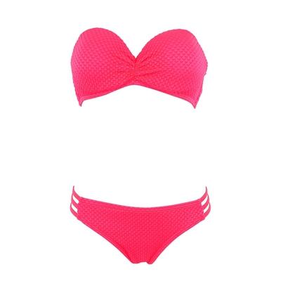 Maillot 2 pièces bandeau rose corail