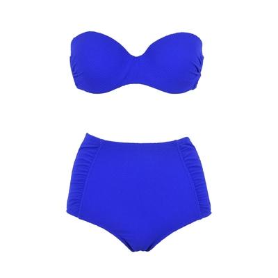 Maillot de bain taille haute bleu roi