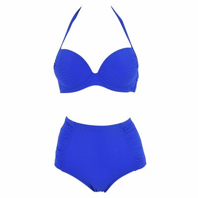 Maillot de bain deux pièces taille haute bleu
