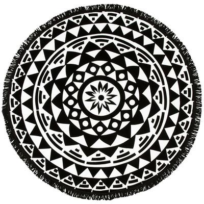 Serviette de plage ronde noire Geometric