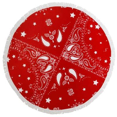 Serviette de plage ronde rouge et blanche Bandana