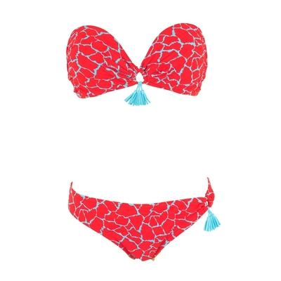Maillot de bain 2 pièces bandeau rouge