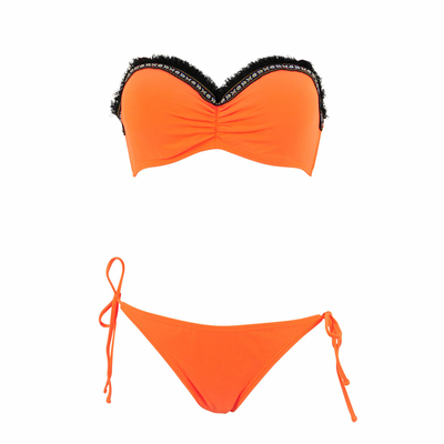 Maillot 2 pièces bandeau orange