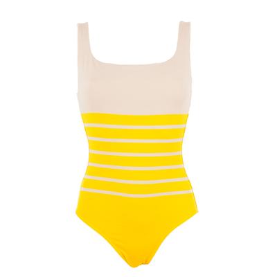 Maillot de bain une pièce marinière jaune Aiza