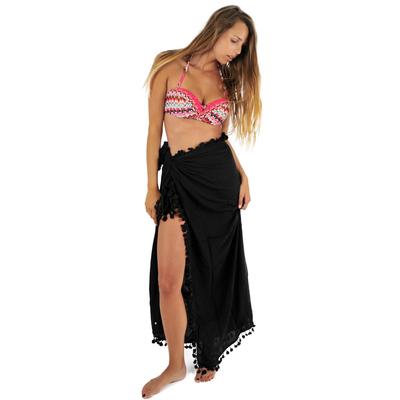 Pareo pompons Beachwear Noir