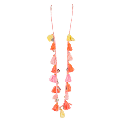 Collier long rose avec pompons
