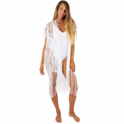 Kimono à franges blanc