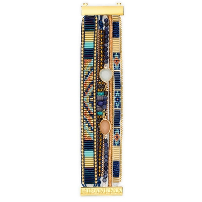 Manchette brésilienne bleue et dorée Lazuli