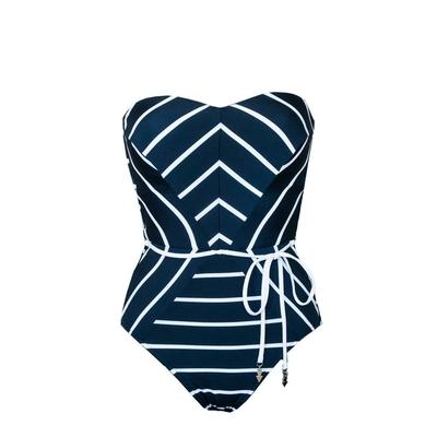 Maillot une pièce bustier bleu indigo rayé Castaway Stripe