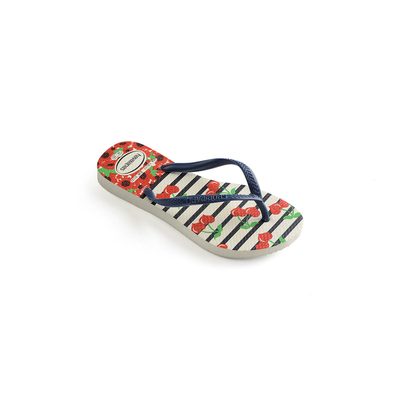 Tongs enfant bleues marine et rouges Havaianas Kids Slim