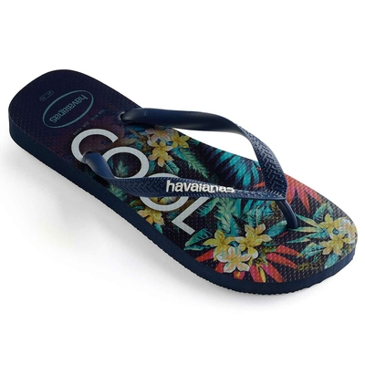 Tongs de plage bleues marine Keep Cool Top Tropical