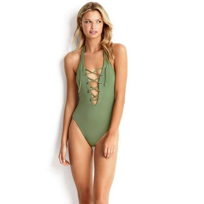 Maillot de bain une pièce vert kaki Lace Up Active