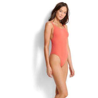 Maillot de bain une pièce orange corail Inka Rib
