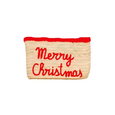 Pochette en osier Merry Christmas rouge Edition de Noël