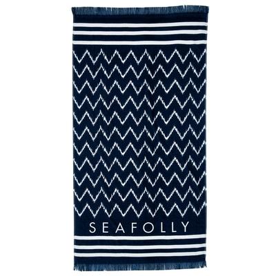 Serviette de plage à frange bleu marine Ikat Signature