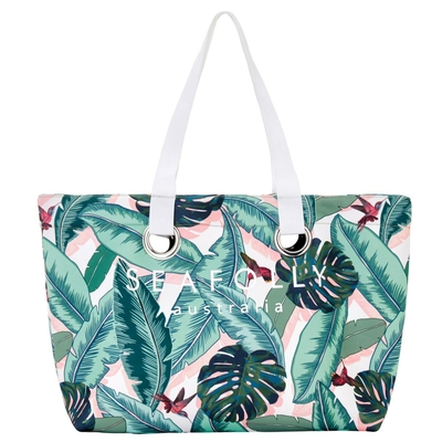 Sac de plage rose imprimé palmier Palm Beach