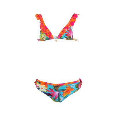 Maillot de bain enfant deux pièces triangle multicolore à fleurs Tropisun