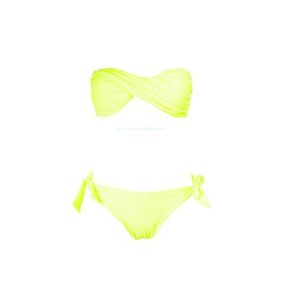 Maillot de bain deux pièces bandeau twisté jaune fluo