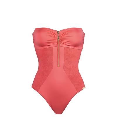 Maillot de bain une pièce bustier rose corail Summer Solids