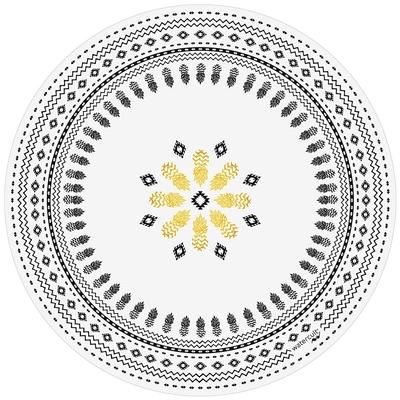 Serviette ronde de plage blanche motifs noirs et dorés